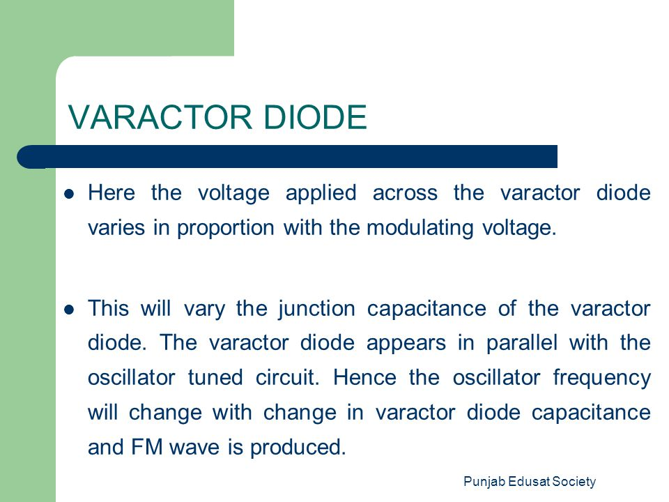 VARACTOR DIODE Here the voltage applied across the varactor diode varies in proportion with the modulating voltage.