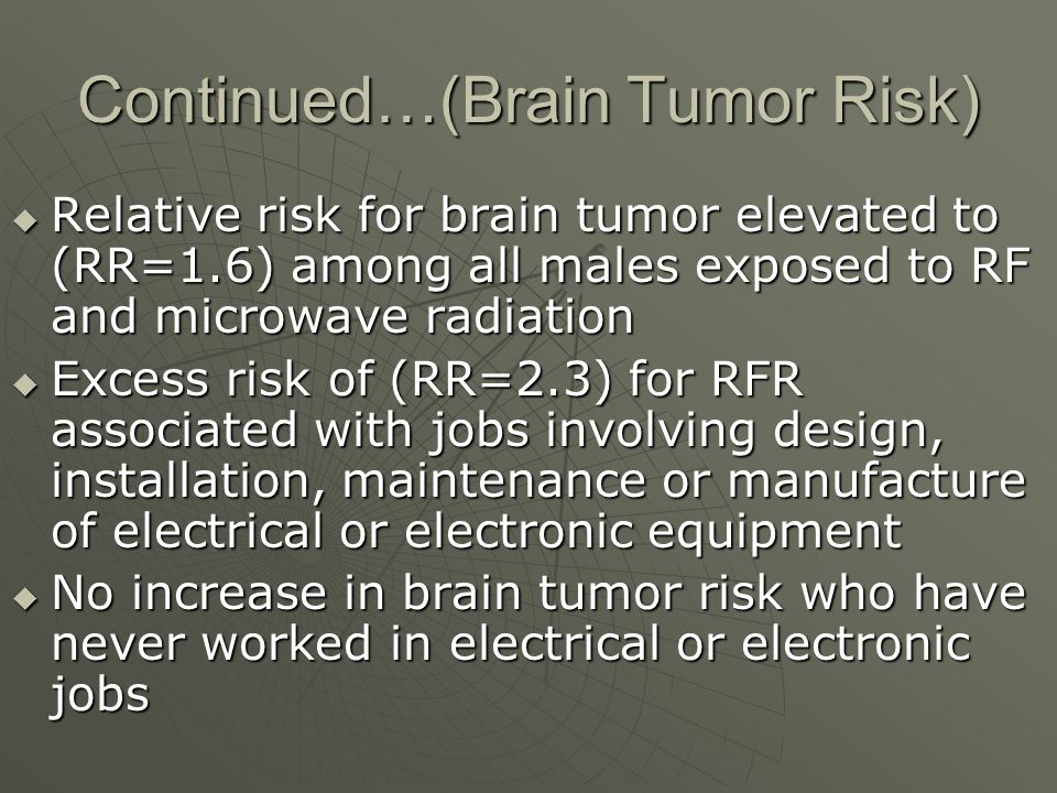 Continued…(Brain Tumor Risk)