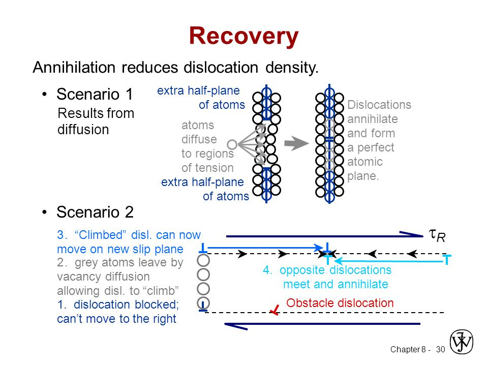 Recovery tR Annihilation reduces dislocation density. • Scenario 1