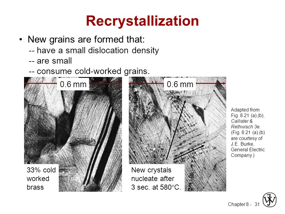 Recrystallization • New grains are formed that: