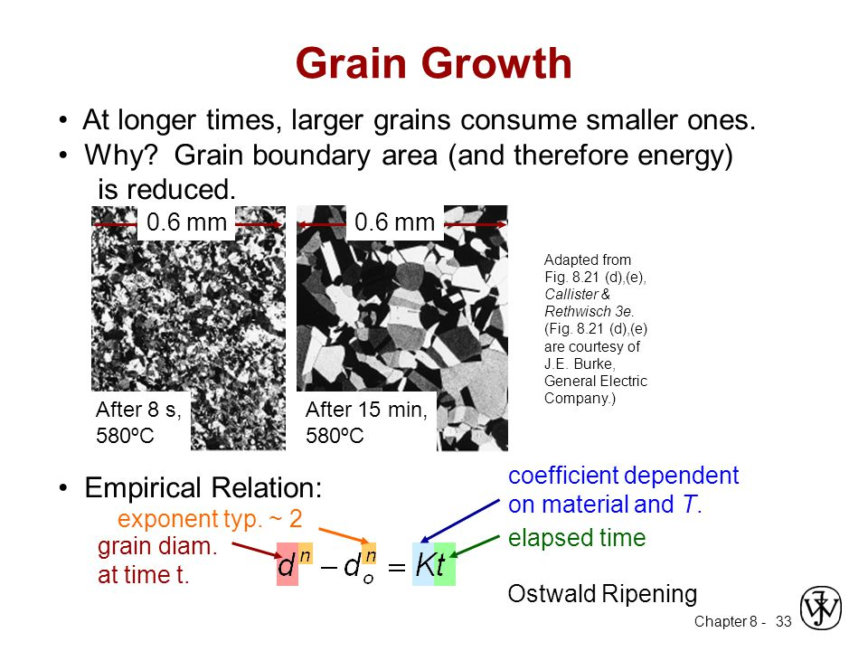 Grain Growth • At longer times, larger grains consume smaller ones.