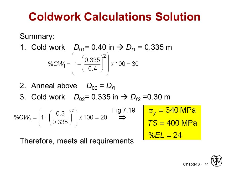 Coldwork Calculations Solution