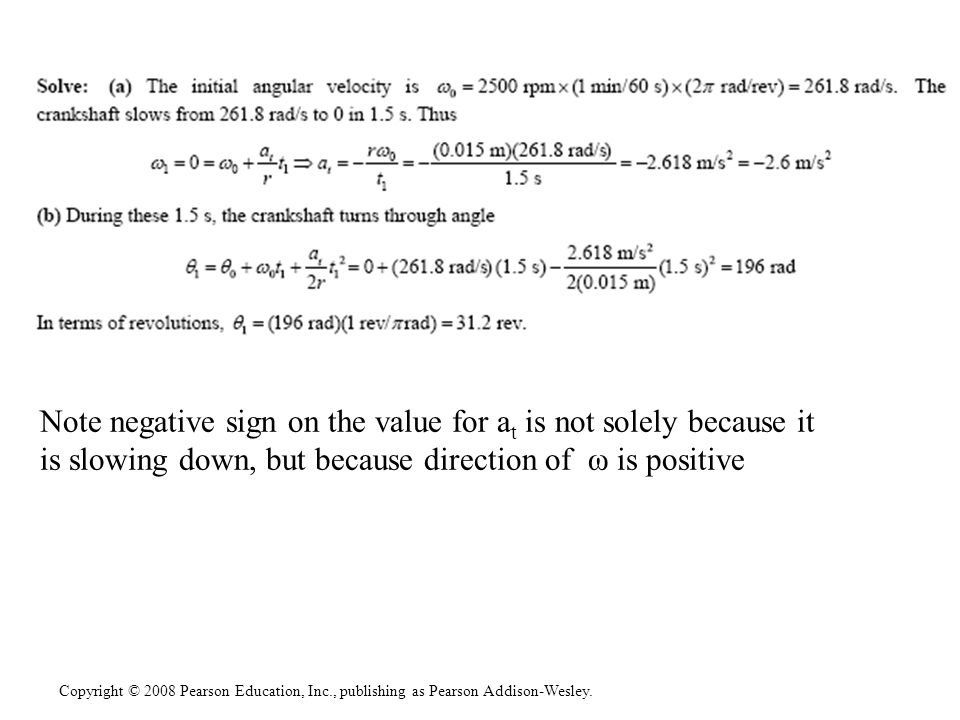 Note negative sign on the value for at is not solely because it is slowing down, but because direction of ω is positive