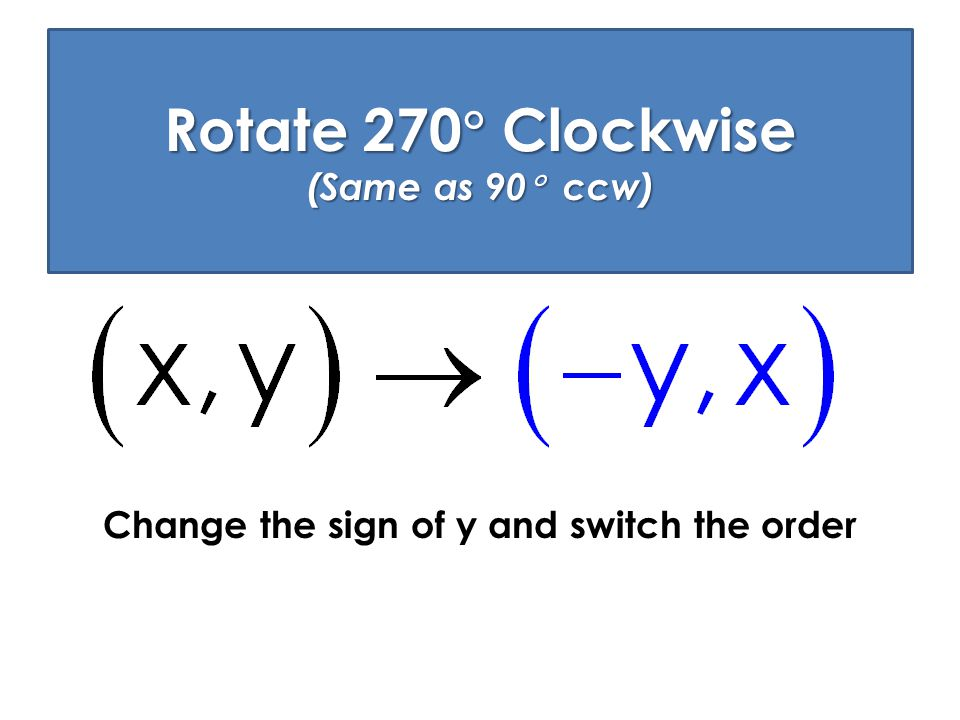 Rotate 270 Clockwise (Same as 90 ccw)