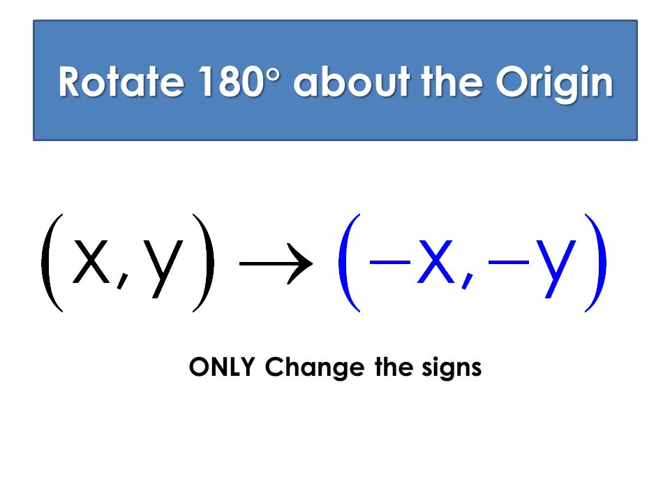 Rotate 180 about the Origin