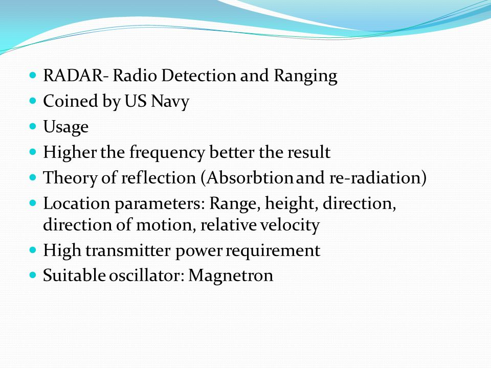 RADAR- Radio Detection and Ranging