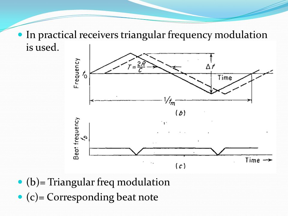 In practical receivers triangular frequency modulation is used.