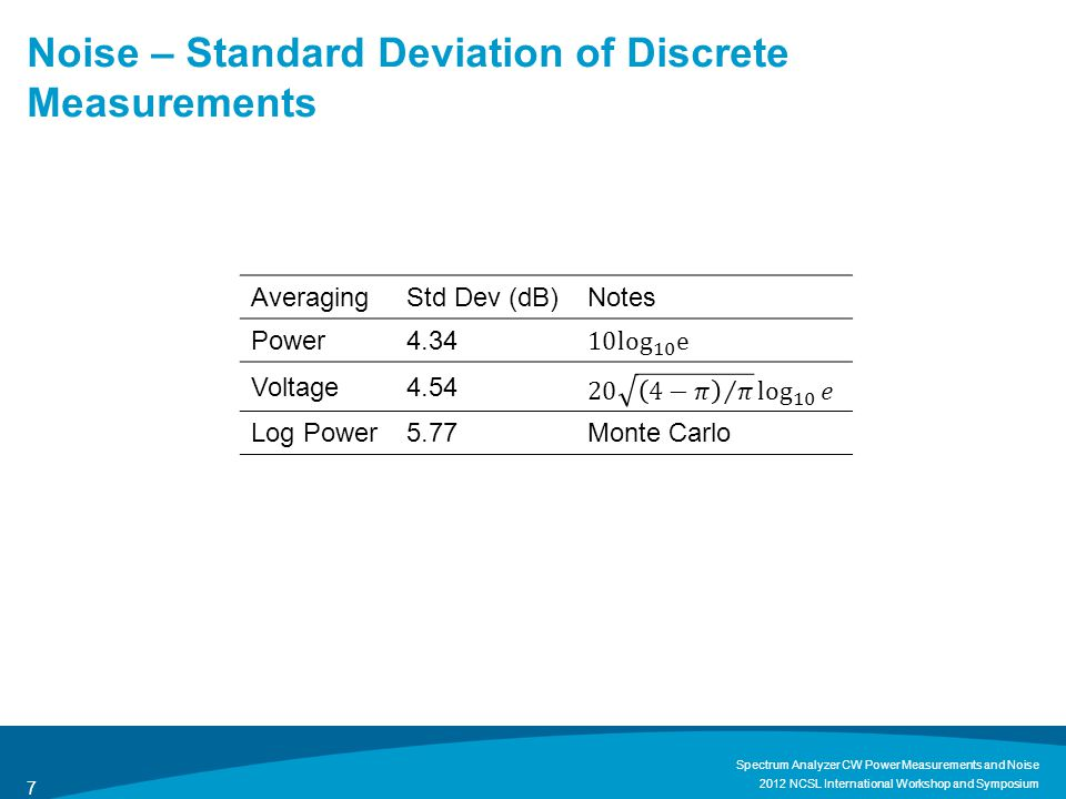 Noise – Standard Deviation of Discrete Measurements