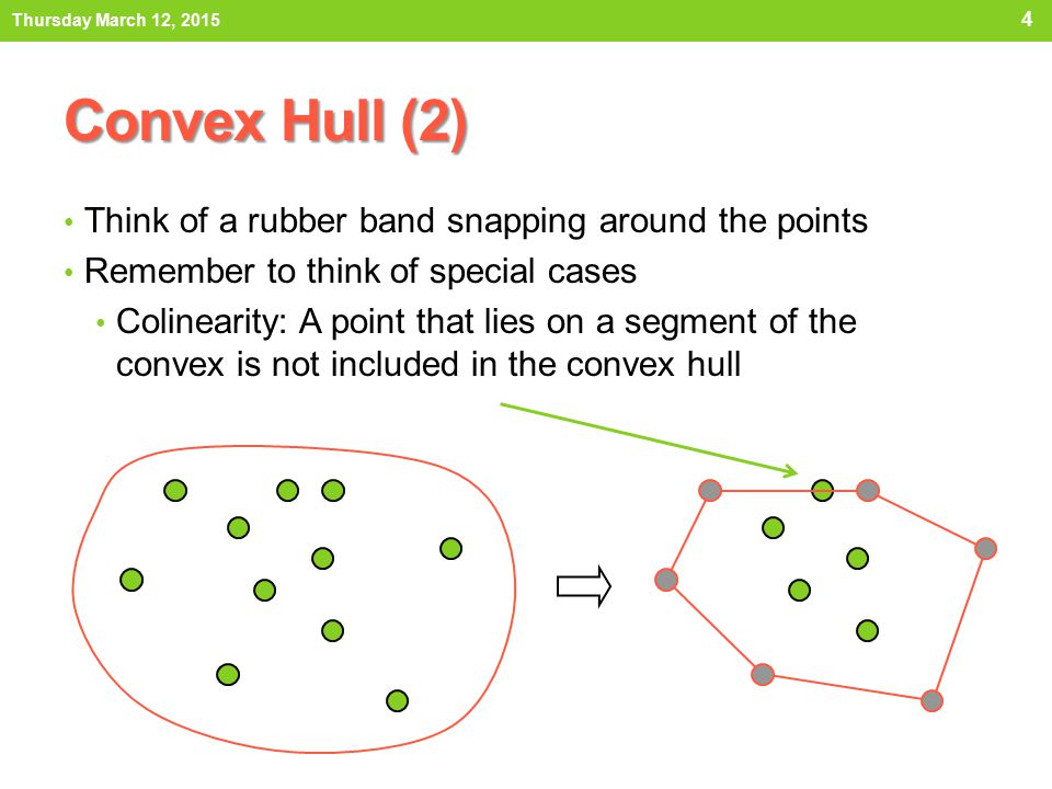Convex Hull (2) Think of a rubber band snapping around the points