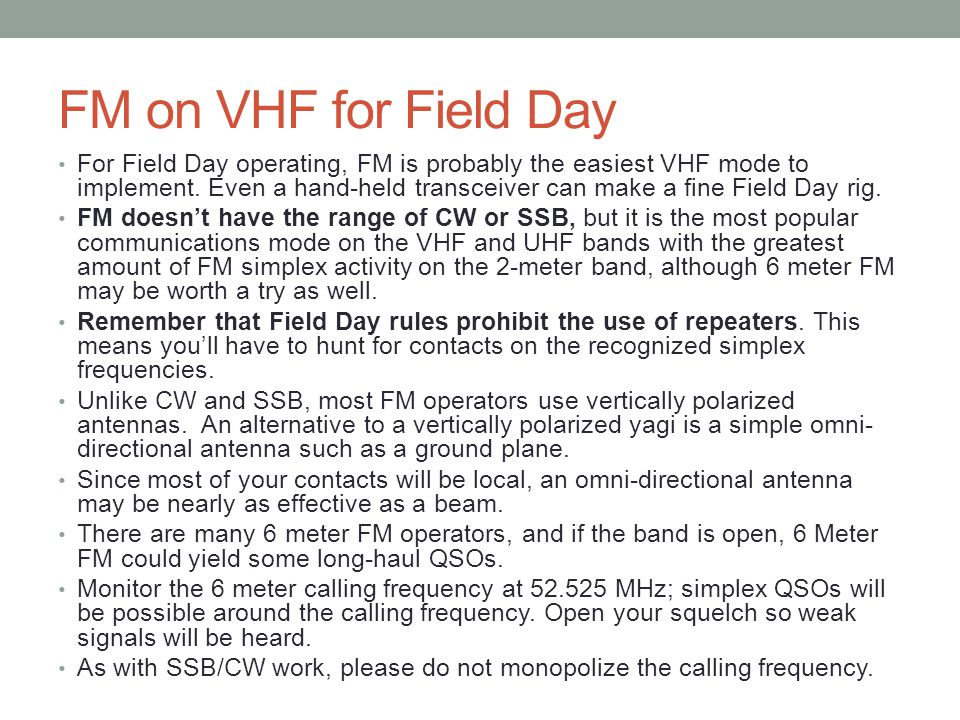 FM on VHF for Field Day