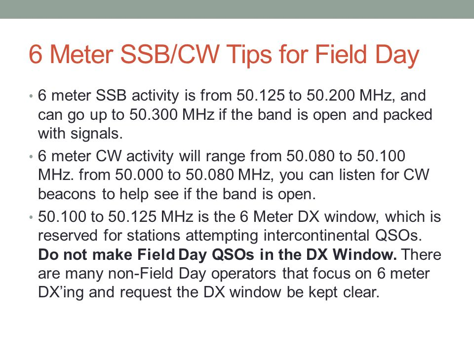 6 Meter SSB/CW Tips for Field Day