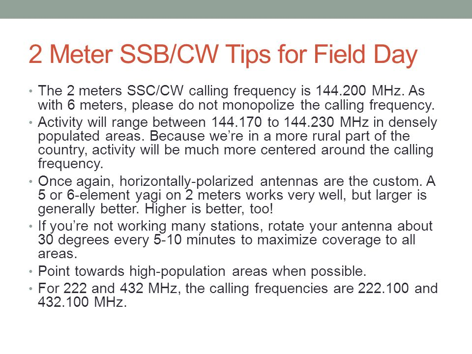 2 Meter SSB/CW Tips for Field Day