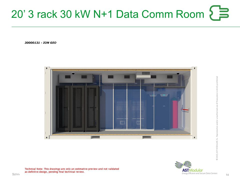 20' 3 rack 30 kW N+1 Data Comm Room