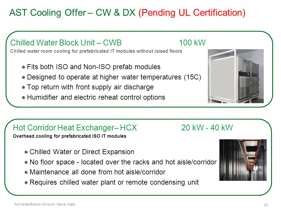AST Cooling Offer – CW & DX (Pending UL Certification)
