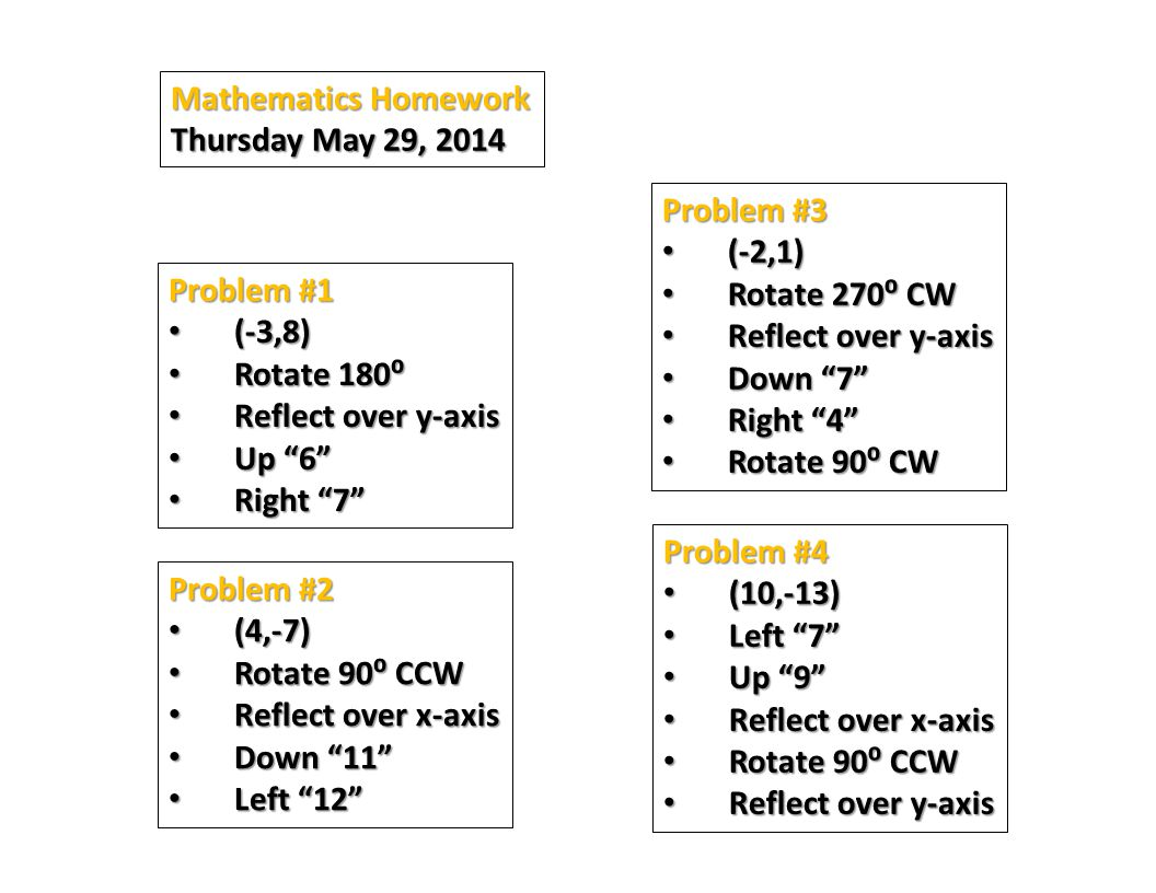 Mathematics Homework Thursday May 29, 2014. Problem #3. (-2,1) Rotate 270⁰ CW. Reflect over y-axis.