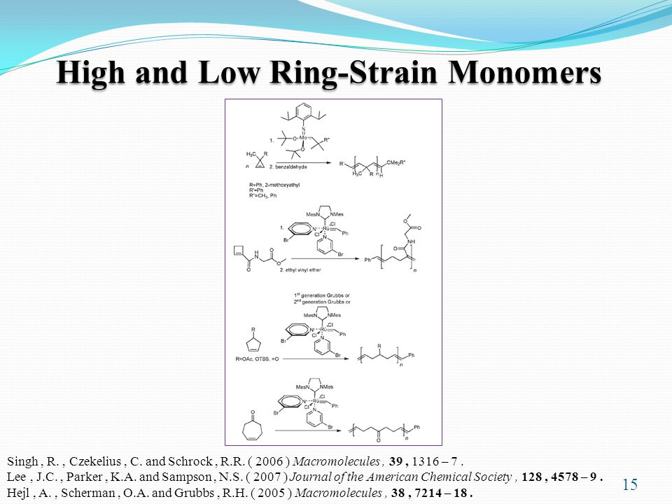 High and Low Ring-Strain Monomers