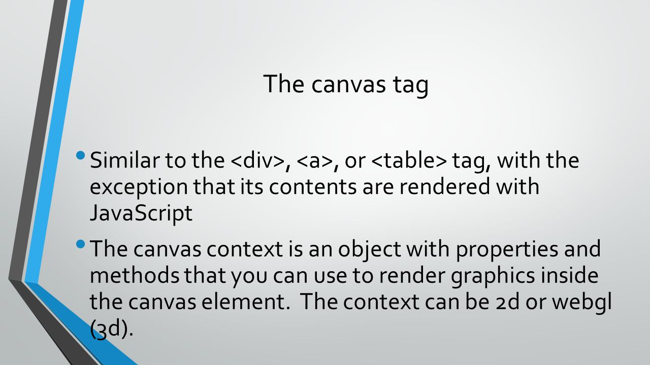 The canvas tag Similar to the <div>, <a>, or <table> tag, with the exception that its contents are rendered with JavaScript.