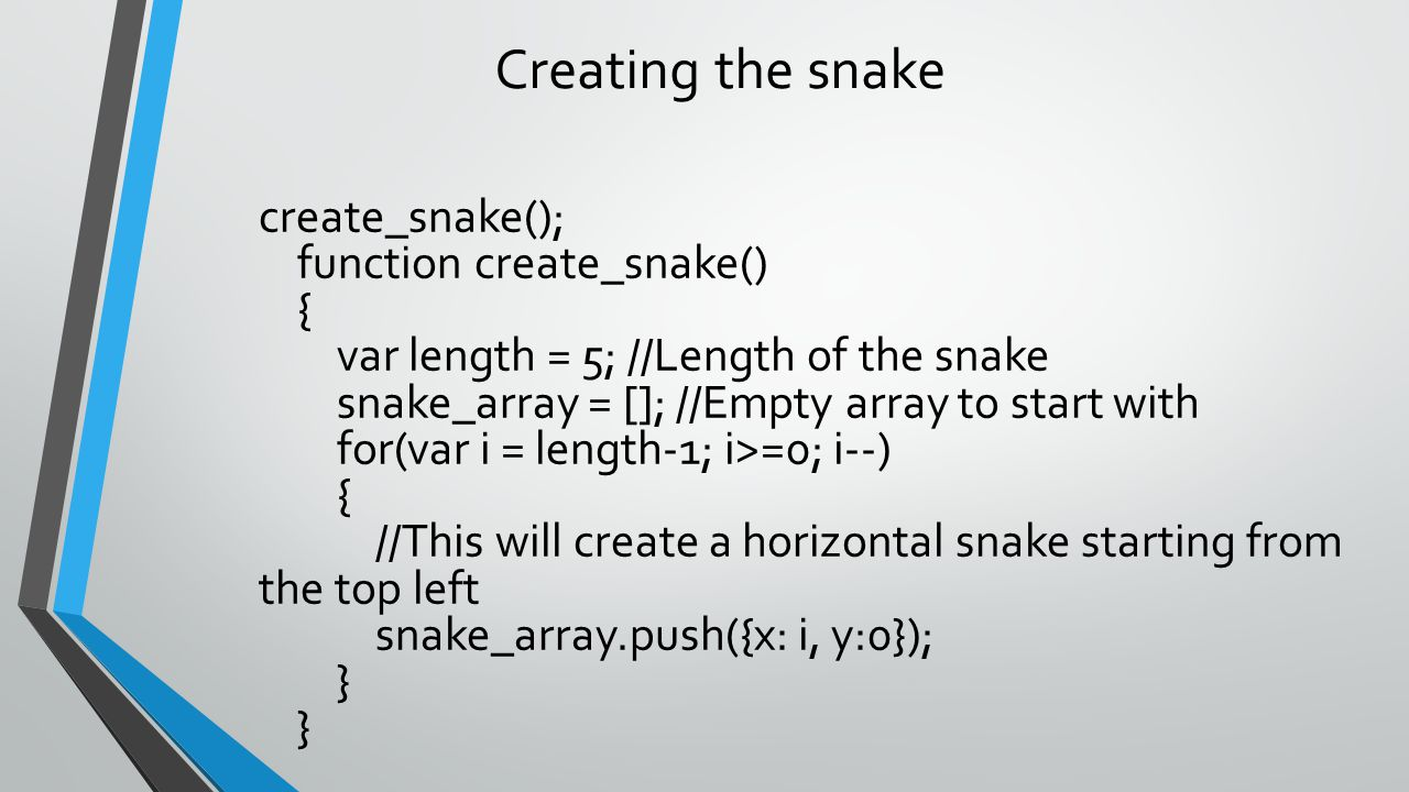 Creating the snake