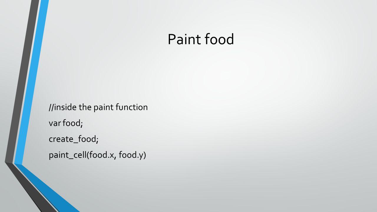 Paint food //inside the paint function var food; create_food; paint_cell(food.x, food.y)