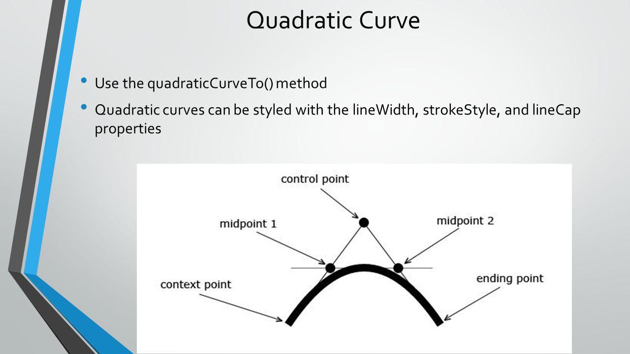Quadratic Curve Use the quadraticCurveTo() method