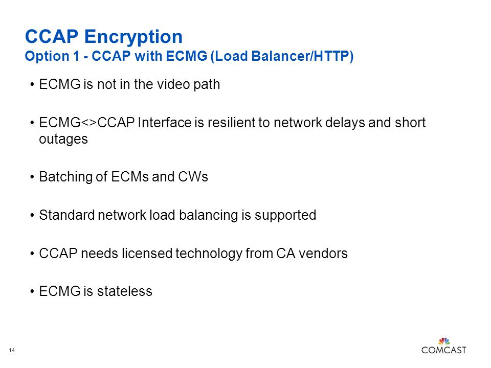 CCAP Encryption Option 1 - CCAP with ECMG (Load Balancer/HTTP)