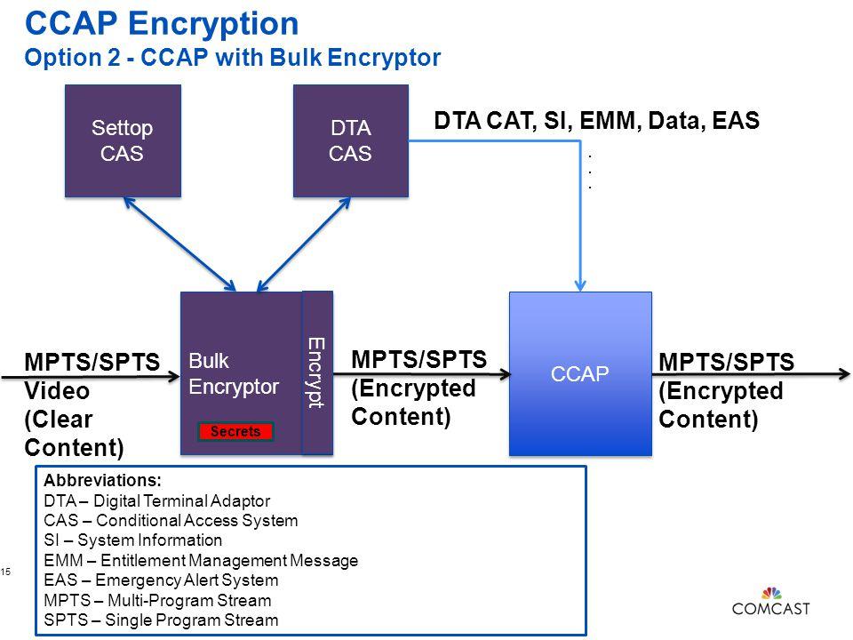 CCAP Encryption Option 2 - CCAP with Bulk Encryptor