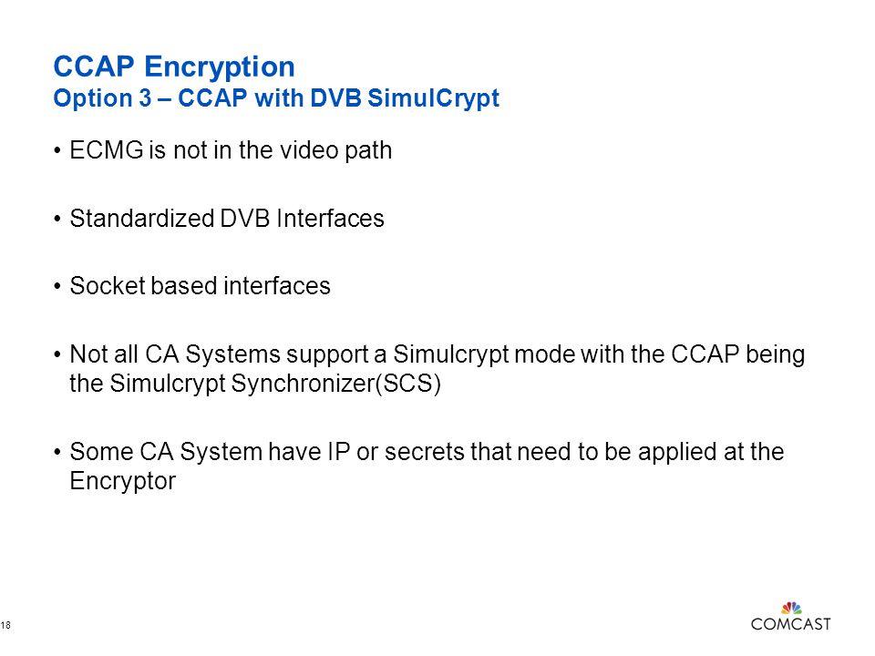 CCAP Encryption Option 3 – CCAP with DVB SimulCrypt