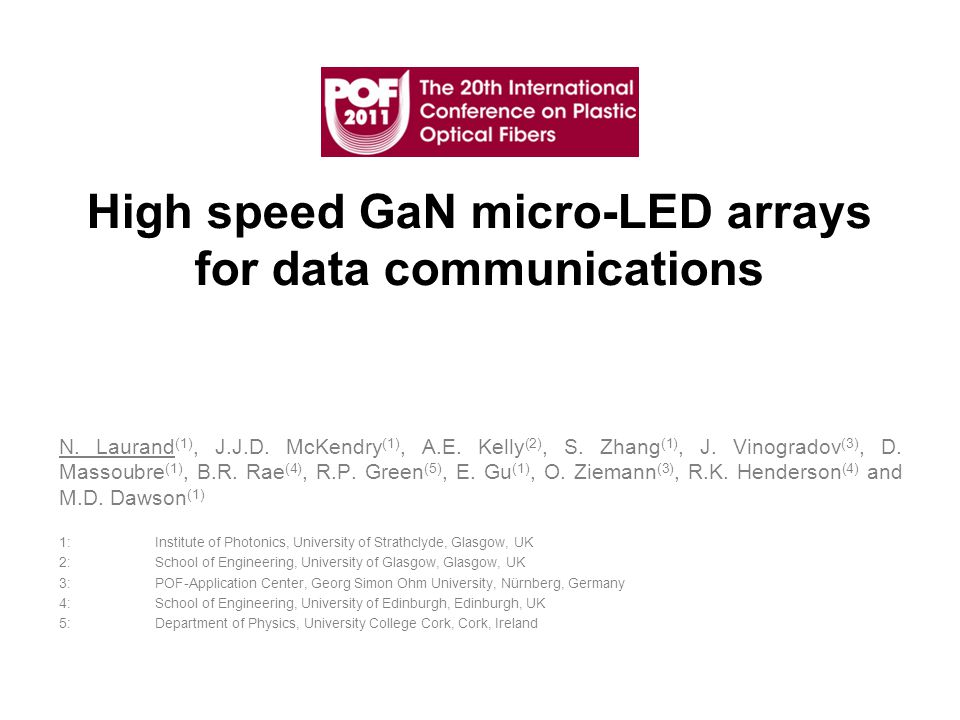 High speed GaN micro-LED arrays for data communications