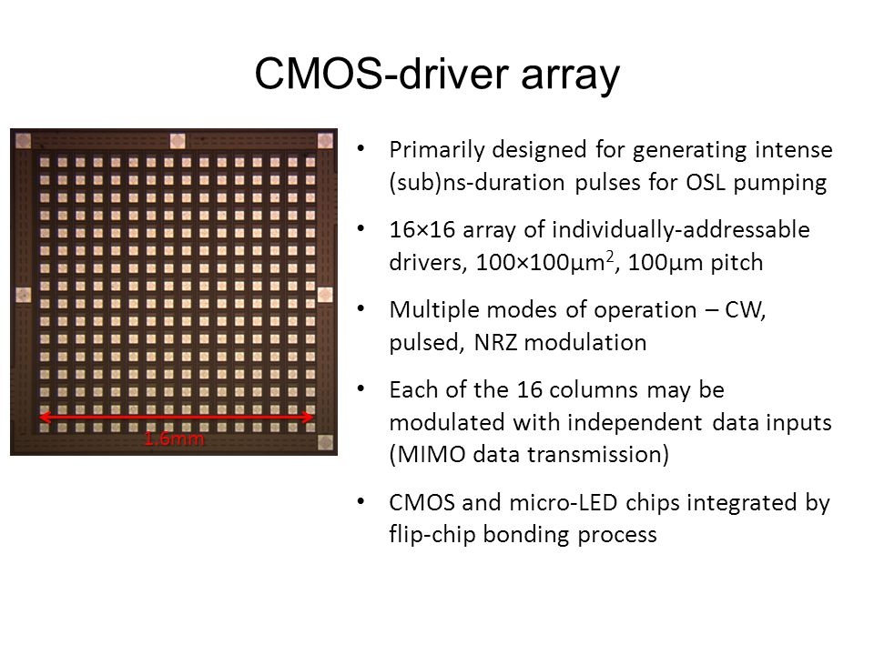 CMOS-driver array Primarily designed for generating intense (sub)ns-duration pulses for OSL pumping.