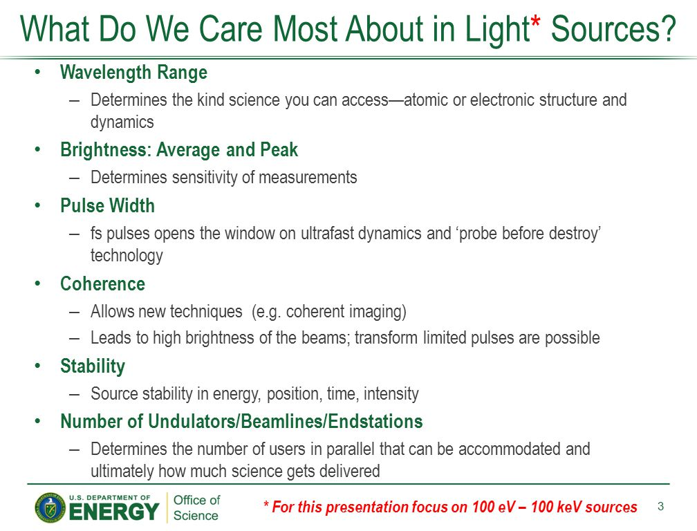 What Do We Care Most About in Light* Sources
