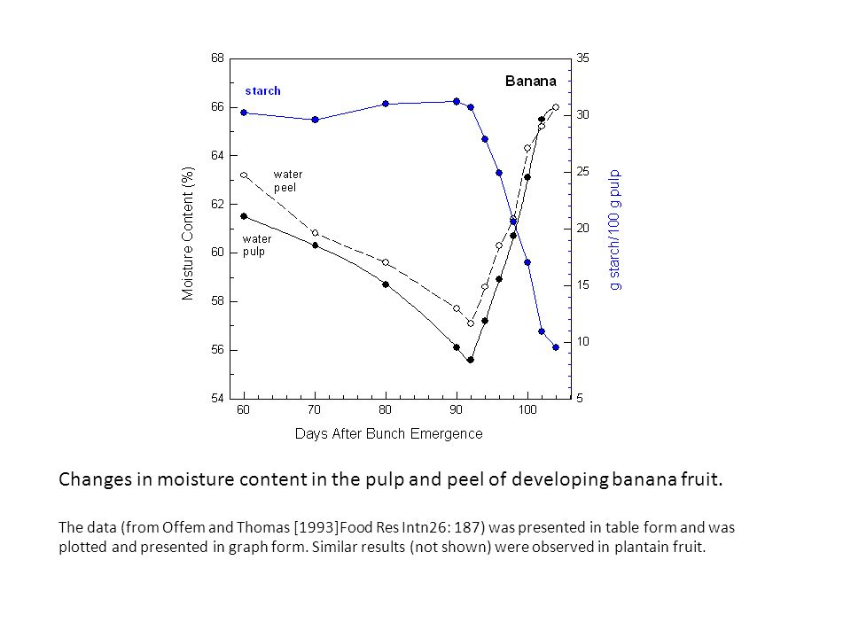 Changes in moisture content in the pulp and peel of developing banana fruit.