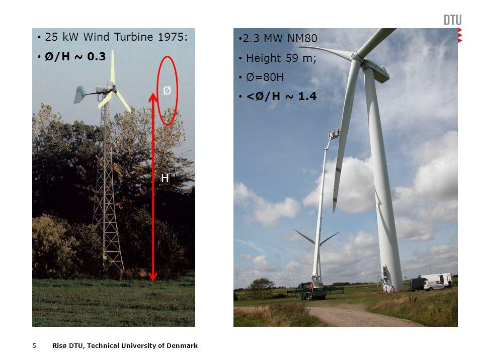 25 kW Wind Turbine 1975: Ø/H ~ 0.3 Ø 2.3 MW NM80 Height 59 m; Ø=80H <Ø/H ~ 1.4 HH