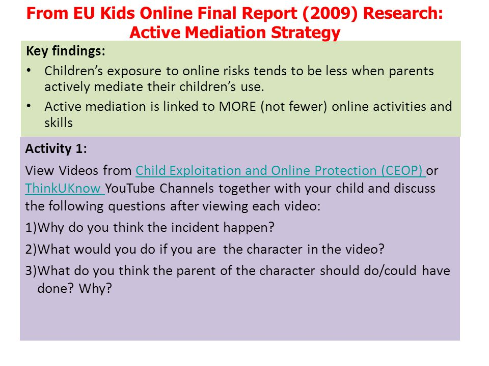 From EU Kids Online Final Report (2009) Research: Active Mediation Strategy