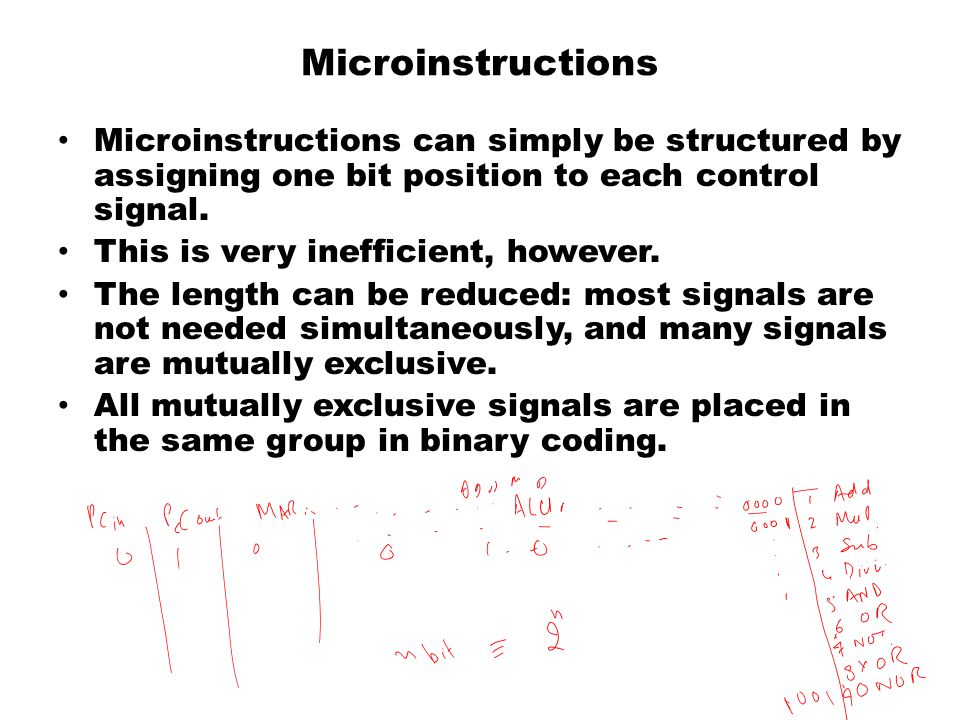 Microinstructions Microinstructions can simply be structured by assigning one bit position to each control signal.