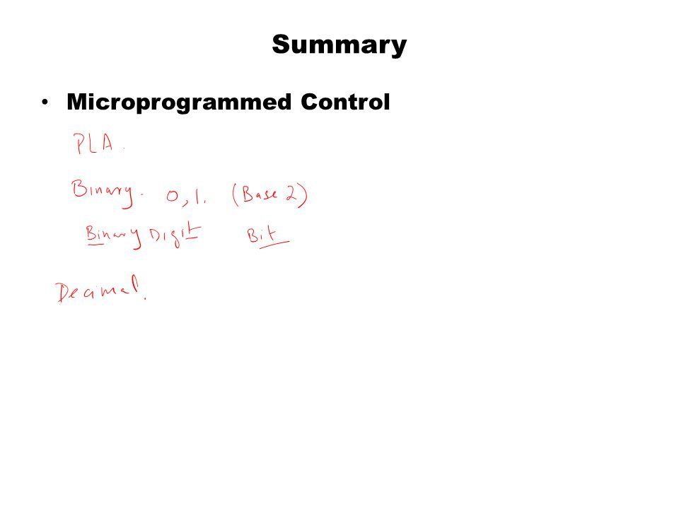 Summary Microprogrammed Control
