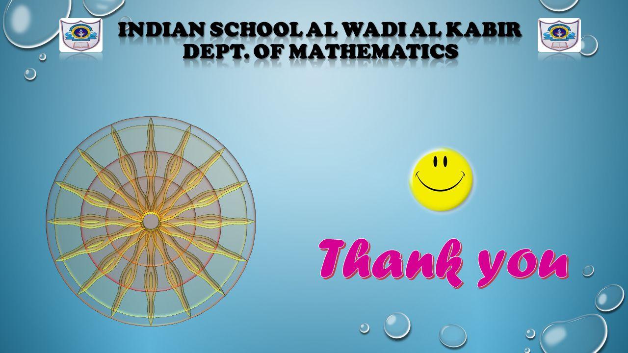 Indian School Al Wadi Al Kabir Dept. of Mathematics