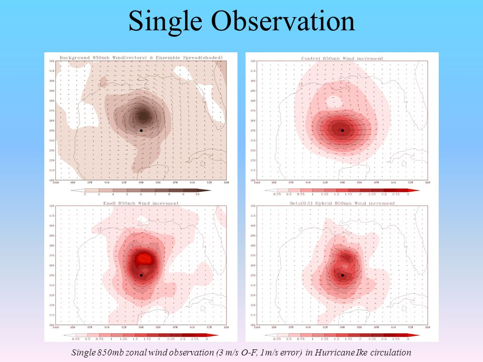 Single Observation Single 850mb zonal wind observation (3 m/s O-F, 1m/s error) in Hurricane Ike circulation.