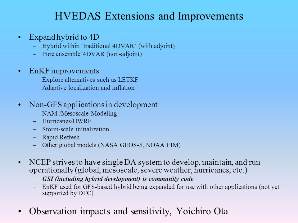 HVEDAS Extensions and Improvements