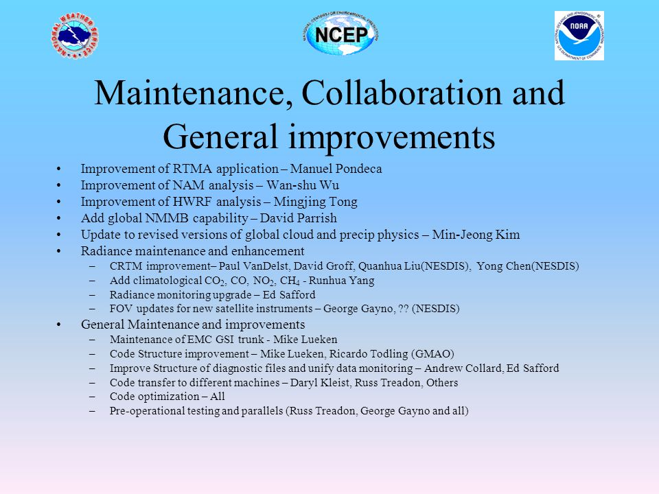 Maintenance, Collaboration and General improvements