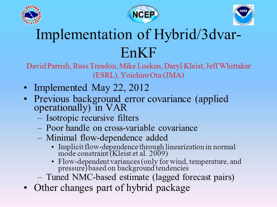 Implementation of Hybrid/3dvar-EnKF David Parrish, Russ Treadon, Mike Lueken, Daryl Kleist, Jeff Whittaker (ESRL), Yoichiro Ota (JMA)