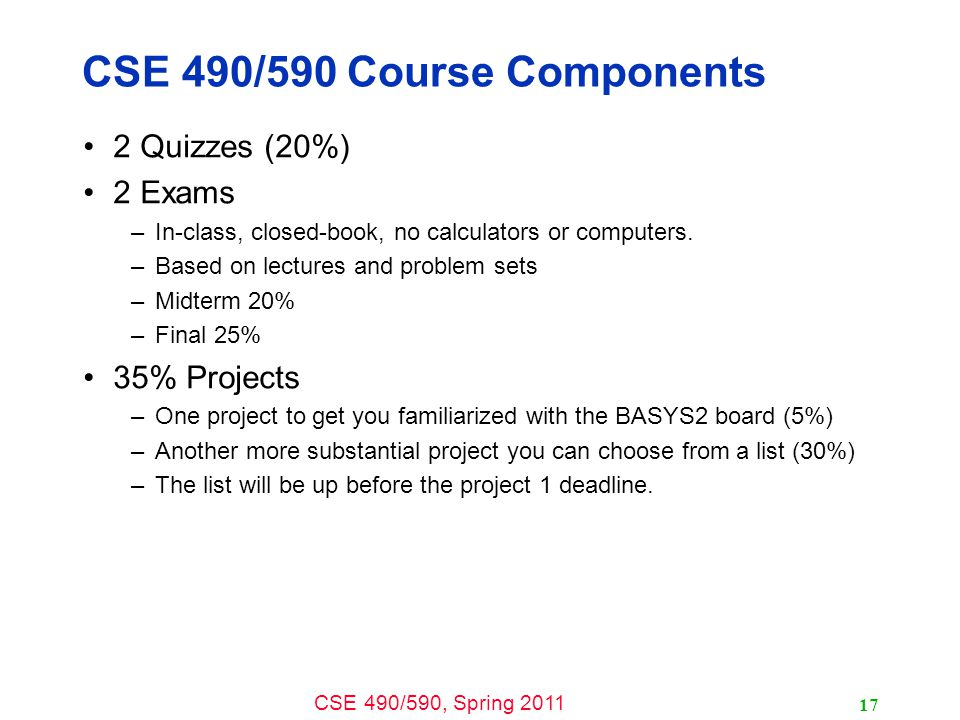 CSE 490/590 Course Components