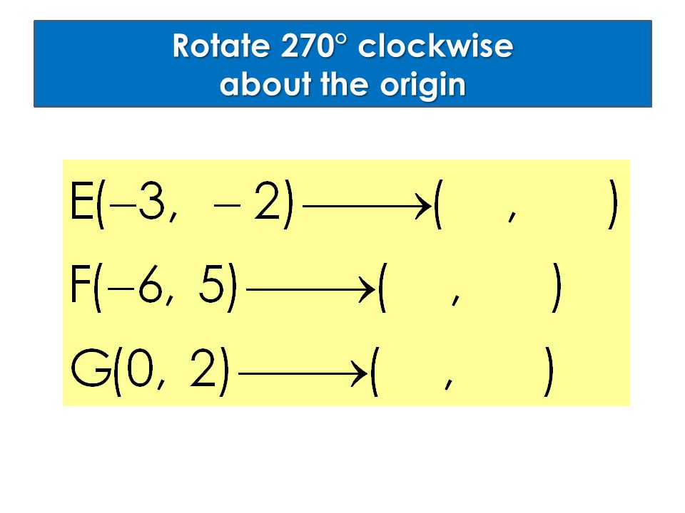 Rotate 270° clockwise about the origin