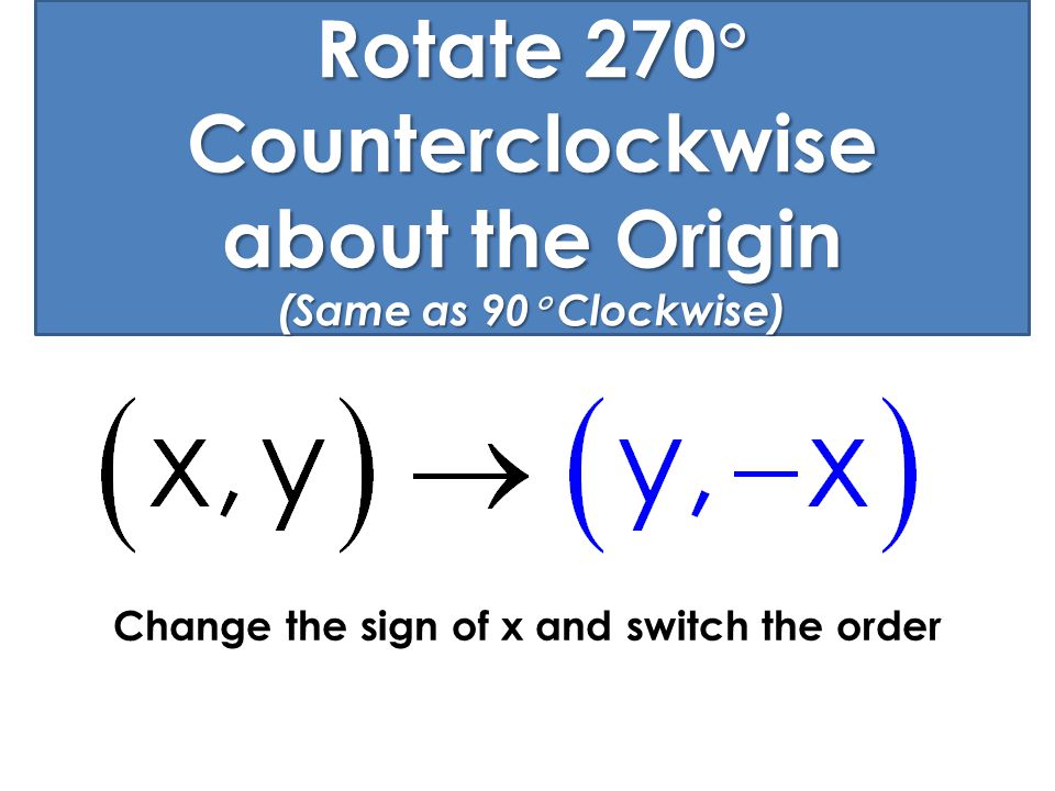 Rotate 270 Counterclockwise about the Origin (Same as 90 Clockwise)