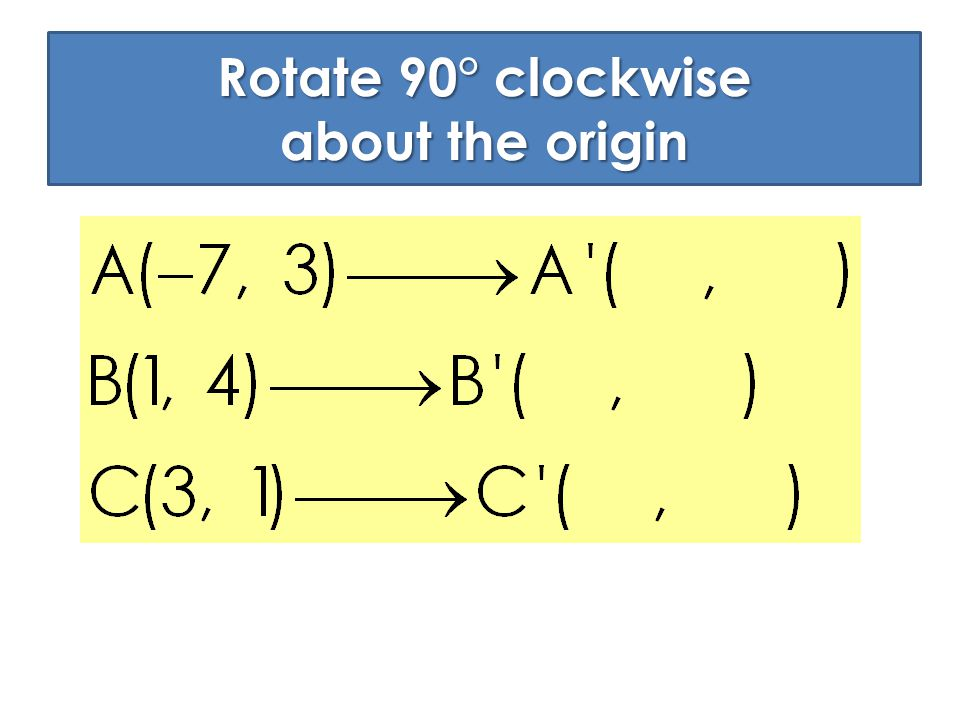 Rotate 90° clockwise about the origin