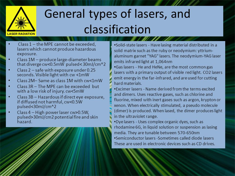 General types of lasers, and classification