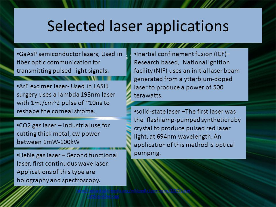 Selected laser applications