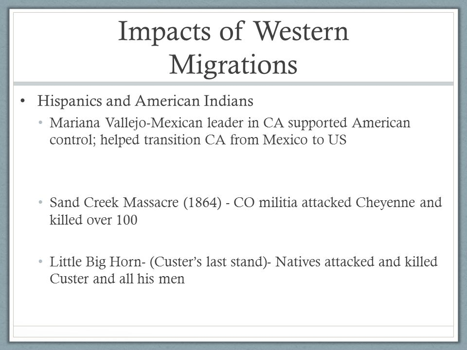 Impacts of Western Migrations