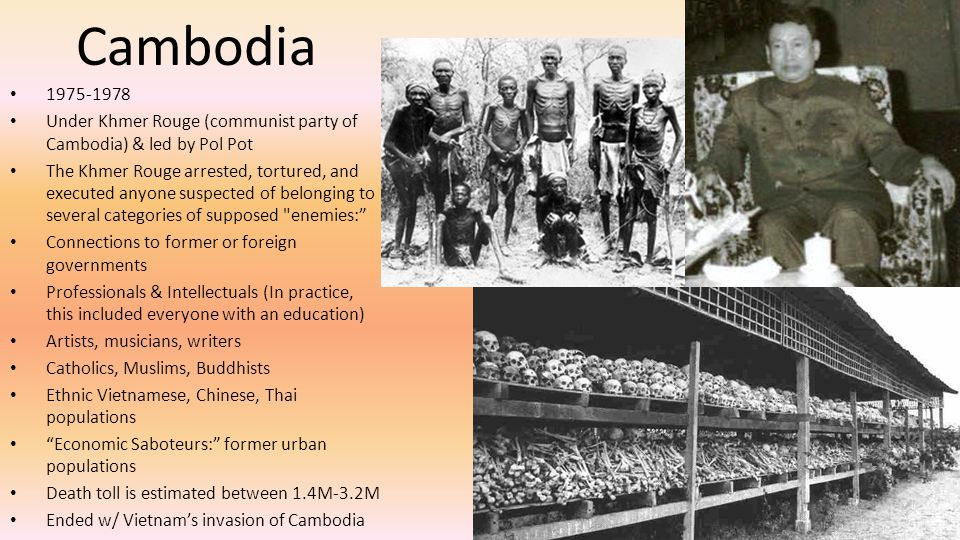Cambodia 1975-1978. Under Khmer Rouge (communist party of Cambodia) & led by Pol Pot.