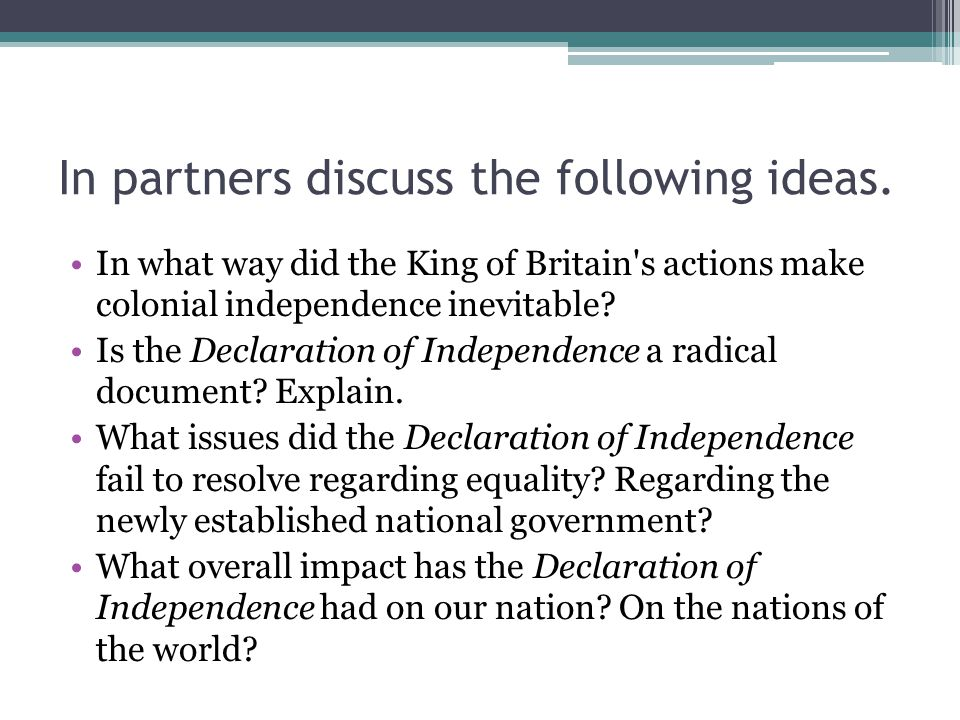 In partners discuss the following ideas.