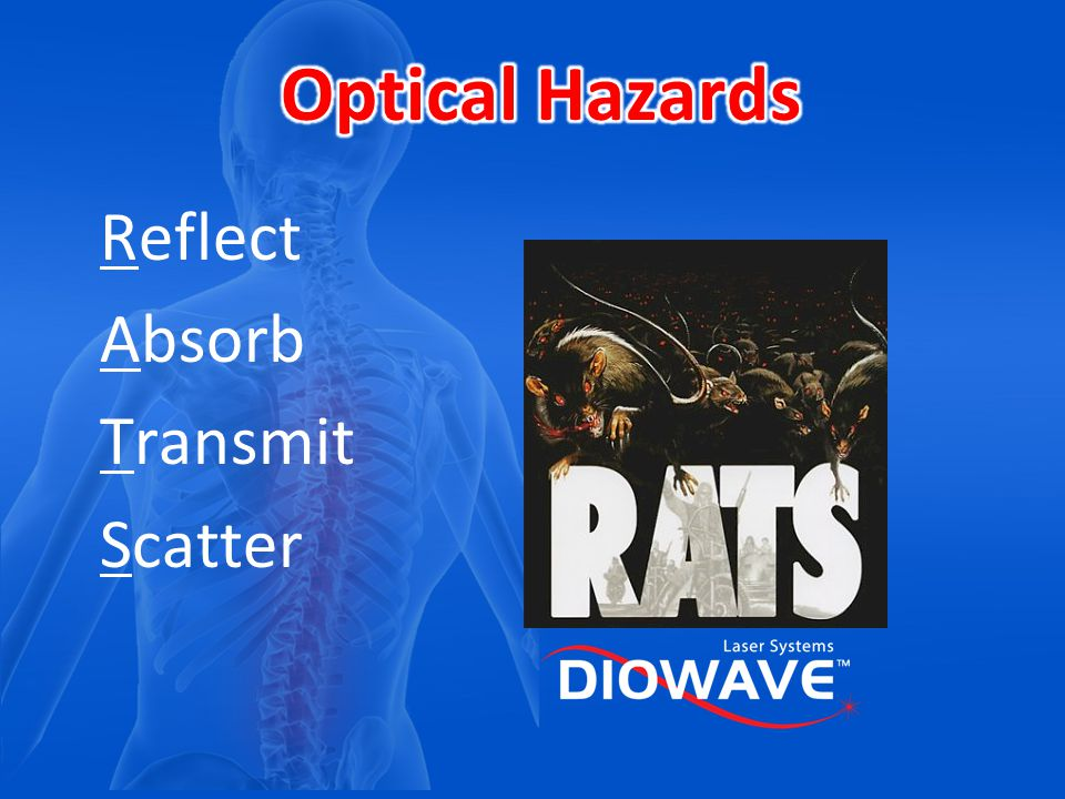 Optical Hazards Reflect Absorb Transmit Scatter Reflect Absorb